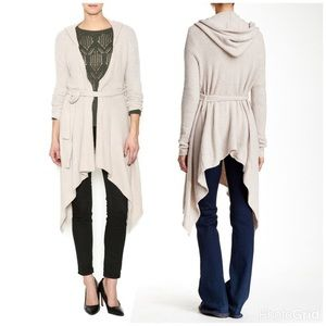 FREE PEOPLE / HOODED BELTED CARDIGAN SWEATER